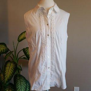 Adrienne Vittadini white sleeveless shirt sz XL